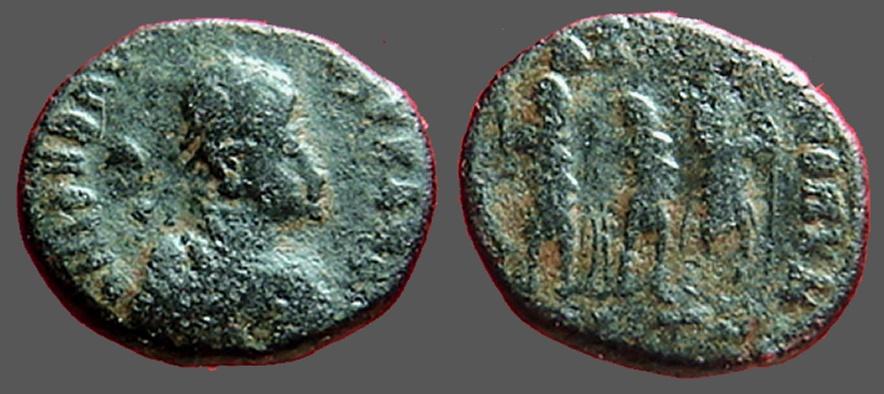 Ancient Coins - Honorius AE3 (13mm) rx: of Honorius, Theodosius I Arcadius, Antioch.