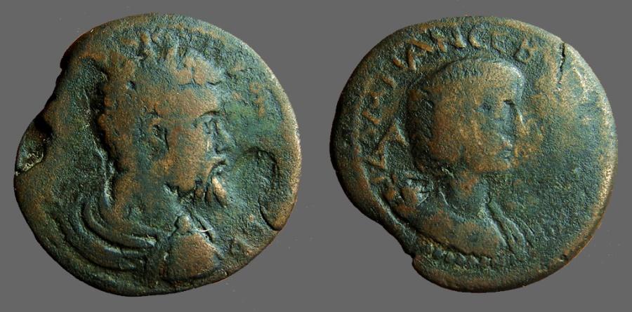 Ancient Coins - Septimius Severus AE33 Bust of Julia Domna.  Syria. laodicaea ad mare
