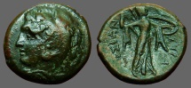 Ancient Coins - Sicily, Syracuse. Pyrrhos. AE22 Herakles / Athena adv w. spear and shield