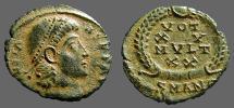 Ancient Coins - Constans AE4, Vows in wreath, VOT/XX/MVLT/X X   Antioch Turkey. VF/EF
