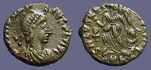 Ancient Coins - Theodosius I AE4 Victory advancing with captive.  Chi Rho monogram
