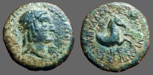 Ancient Coins - Cilicia, Seleukeia ad Calycadnum,.AE19 Apollo / forepart of Horse
