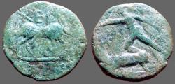 Ancient Coins - Chersonesos, AE17  Artemis Parthenos and Stag,Bull with XEP Above it.
