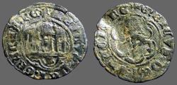 World Coins - Enrique III billon 24mm blanca (2 Cornados) 3 towered castle / Lion rampant left.