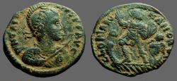 Ancient Coins - Arcadius AE22 Centionalis.  Emperor adv., in galley, w. Victory paddling