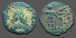 Ancient Coins - Honorius AE3 (18mm) Victory holds wreath over him.  Antioch, Turkey