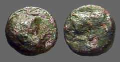 Ancient Coins - Ionia, Phygela AE10 Head of Artemis Munychia right. /  Bull butting right.