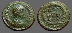 Ancient Coins - Theodosius I AE4 Vows in wreath.  VOTOT/X/MVLT/XX.  Constantinople