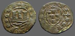 World Coins - Portugal, Alfonso V AE22 Ceitil. Castle, waves below / Coat of Arms.  1438-1481 AD.