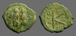 Ancient Coins - Justin II & Sophia AE19 1/2 follis.  Thessalonica