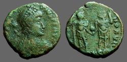 Ancient Coins - Honorius AE3 Honorius & Theodosius hold globe between them  Antioch, Turkey.