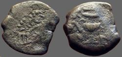 Ancient Coins - Jewish War AE16 Prutah Amphora / Vine leaf on tendril.