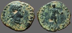 Ancient Coins - Theodosius I AE2. Theodosius facing, holds labarum & globe