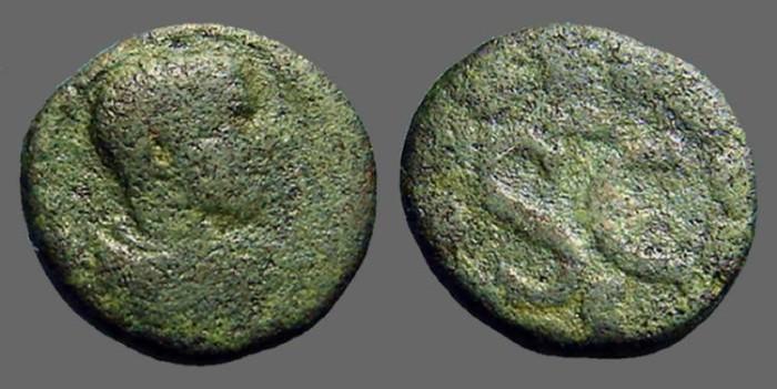 Ancient Coins - Diadumenian AE18 Antioch, Syria, SC within wreath.