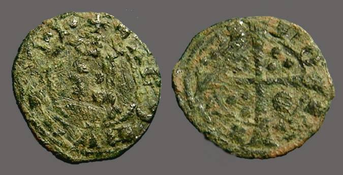 World Coins - Aragon. Jaime II, Billon Dinero. Cross w. pellets.