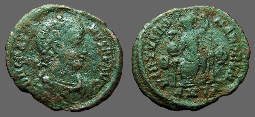 Ancient Coins - Valentinian II AE3 Constantinopolis seated w. globe & spear. Antioch, Turkey