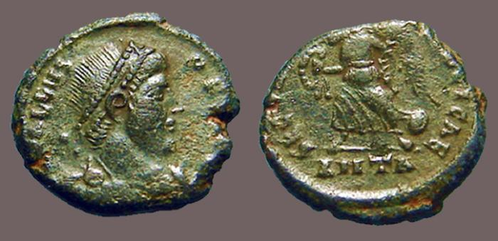 Ancient Coins - Valens AE3 Victory adv left w. wreath.  Antioch, Turkey