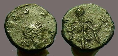 Ancient Coins - Theodosius II AE4 Victory facing, wreath in each hand