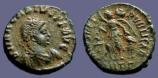 Ancient Coins - Arcadius AE4 Victory advancing left w. captive.  Antioch, Turkey.