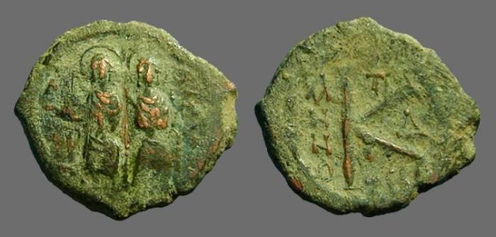 Ancient Coins - Justin II & Sophia AE19 1/2 follis.  Thessalonica