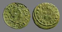 Ancient Coins - Philip IV AE22 (16) Maravedis. Bust rt / Crowned Shield. 1664