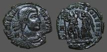 Ancient Coins - Constantius II  Æ Centionalis Struck under Vetranio  HOC SIGNO VICTOR ERIS