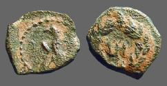 Ancient Coins - Aretas IV AE11 Eagle, wings closed, stands rt./ Nabataean letter in wreath.   Meshorer 88. 9 BC-40 AD