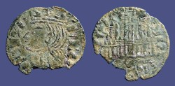 World Coins - Alfonso XI 18mm Cornado Crowned bust of Alfonso / 3 towered Castle