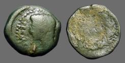 Ancient Coins - Augustus AE25 'as'  Spain.  JVLIA/TRAD within wreath
