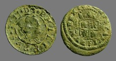 World Coins - Philip IV AE22 (16) Maravedis. Bust rt / Crowned Shield. 1664