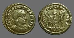 Ancient Coins - Delmatius AE3 GLORIA EXERCITVS  2 soldiers, 1 Standard