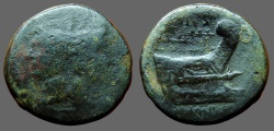 Ancient Coins - Sextus Pompey Æ30 As, mint moving with Sextus Pompey