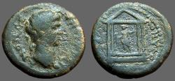 Ancient Coins - Trajan AE20 Lydia.  statue of Artemis in temple, drawing arrow