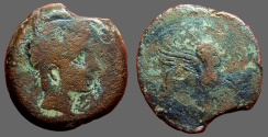 Ancient Coins - Castulo AE29 as  Bust diademed right, hand before. / Sphinx