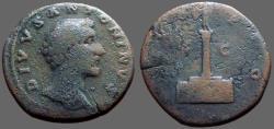 Ancient Coins - Antoninus Pius AE31 Sestertius, DIVO PIO by Aurelius.  Column w. statue