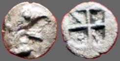 Ancient Coins - Ionia, Teos AR6 Tetartemorion.  Griffin Head / Incuse