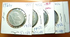 World Coins - 5 larger coins of Italy