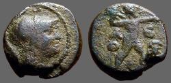 Ancient Coins - Attica, Athens. AE18  Athena / Zeus hurling thunderbolt