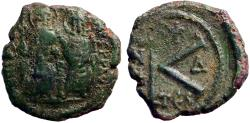 Ancient Coins - Justin II & Sophia AE20 1/2 follis year 4. Thessalonica
