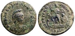 Ancient Coins - Valentinian II AE23 Follis. Galley w. Victory at helm.  Constantinople