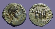 Ancient Coins - Theodosius I AE3 Theodosius, Arcadius, Honorius.