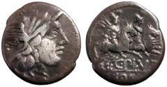 Ancient Coins - C. Plutius. AR Denarius.  Dioscuri riding right