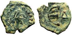 Ancient Coins - Justinian I AE15 Pentanummium.  Constantinople