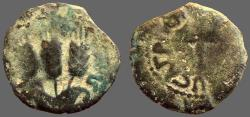 Ancient Coins - Judaea, Agrippa I. AE16 Prutah. Canopy / Three ears of barley