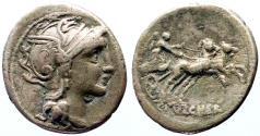 Ancient Coins - C. Claudius Pulcher AR Denarius.  Roma / Victory driving biga