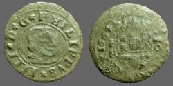 World Coins - Philip IV AE25 (16) Maravedis. Bust rt / Crowned Shield. 1664