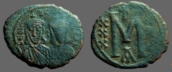 Ancient Coins - Leo III AE23 Follis.  Leo III & Constantine V.  Constantinople Mint.