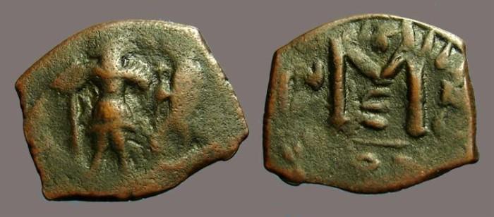 Ancient Coins - Heraclius & Heraclius Constantine AE22 Follis, Constantinople
