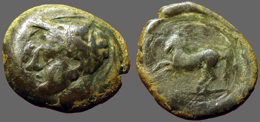 Ancient Coins - Carthaginian Sicily AE17 Horse rearing