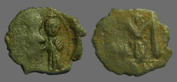 Ancient Coins - Heraclius & Heraclius Constantine AE follis.  Constantinople.